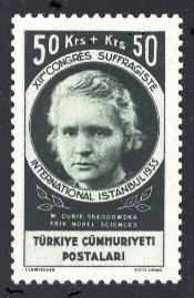 Marie Sklodowska-Curie, Turkish stamp issued 1938.