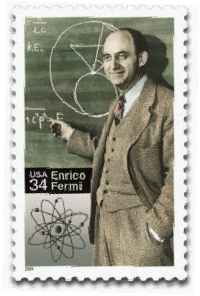 Fermi and a model of the carbon atom, Mar 26, 1948, at the University of Chicago's Institute for Nuclear Studies. Stamp issued Sept 29 2001, 100th anniversary of Fermi's birth in Rome.