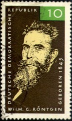 Wilhelm Conrad Roentgen (1845-1923), German Democratic Republic (East Germany) stamp issued 1965.